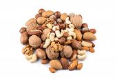 picture of mixed nut  - Variety of Mixed Nuts Isolated on White Background - JPG