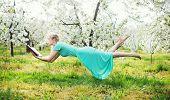 stock photo of levitation  - Romantic levitating blonde beauty - JPG