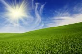 foto of cloudy  - Abstract natural idyllic background with green grass - JPG