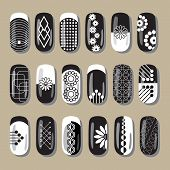 picture of pedicure  - Nail design black and white - JPG