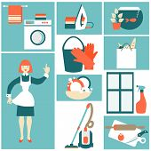 stock photo of house cleaning  - House work concept vector illustration - JPG