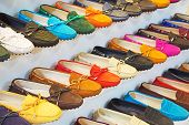 picture of shoes colorful  - variety of the colorful leather shoes in the shop  - JPG