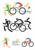 foto of triathlon  - Icons symbolizing triathlon - JPG