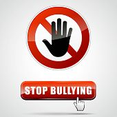 stock photo of stop bully  - illustration of stop bullying sign with web button - JPG
