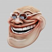 picture of troll  - laughing internet troll spectacled 3d illustration isolated - JPG