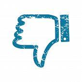 stock photo of dislike  - Vector grunge blue icon with dislike symbol - JPG