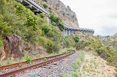 foto of passed out  - View of the old unused roalroad in Sir Lowrys Pass in the Hottentots - JPG