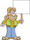 picture of hippy  - Cartoon illustration of a hippie holding a sign - JPG