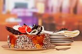 stock photo of dessert plate  - The Dessert cake with plates and cutlery - JPG