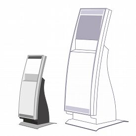 stock photo of payment methods  - Payment terminals for receiving money in the sales rooms - JPG