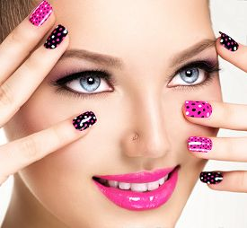 foto of colore  - Beauty Girl Portrait with Vivid Makeup and colorful Nail polish - JPG