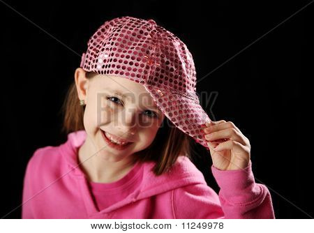 Female Child Wearing Pink Sparkly