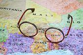 Постер, плакат: Glasses on a map Benin