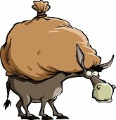 stock photo of jackass  - The donkey carries a large bag vector - JPG