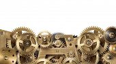 Mechanical collage made of clockwork gears on white background poster