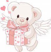 Teddy Bear Angel Bringing The Gift