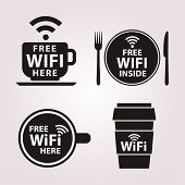 Постер, плакат: Wifi free zone set of stickers