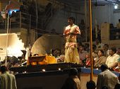Young Brahmin Priests Conduct Aarti Evening Service On Ghats