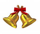 Gold Christmas Handbell Over White