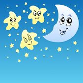 Night Sky With Cute Stars And Moon