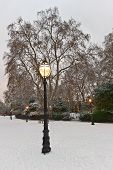 Old Gas Light, Bedford Square, London, England, Uk, Europe, At Christmas In The Snow