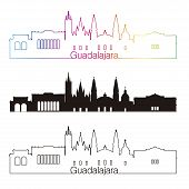 Постер, плакат: Guadalajara Skyline Linear Style With Rainbow