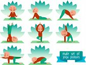 Постер, плакат: Vector yoga illustration Yoga set Yoga exercises Men yoga Yoga class yoga center yoga studio