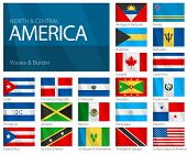 Waving Flags of North & Central American Countries