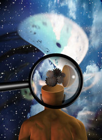 picture of time machine  - High Resolution Magnifying glass reveals mans mind in surreal scene - JPG