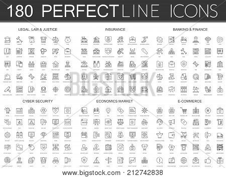 poster of 180 modern thin line icons set of legal, law and justice, insurance, banking finance, cyber security, economics market, e commerce isolated.