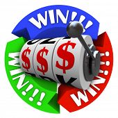 The word Win repeated on several circular arrows around a slot machine whose wheels are lined up in