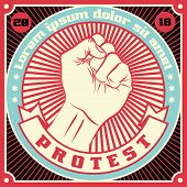 Raised protest human fist. Retro revolution poster design. Vintage propaganda illustration poster