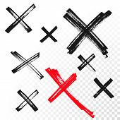 Reject Mark Criss Cross Sign Crossed Hand Drawn Vector Icon poster