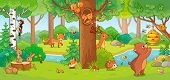 Vector Illustration With Cute Forest Animals In A Childrens Style. poster