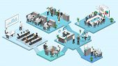 Isometric Flat 3D Abstract Office Floor Interior Departments Concept Vector. poster