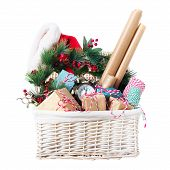 Packing Christmas Gifts Beige Blue Wrapping Paper poster