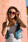 Fashion Sexy Brunette Girl Wearing Sunglasses.fashion Of Contemporary Youth Girl poster