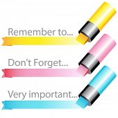 An image of a highlighter marker ribbon set.