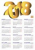 Spanish Calendar 2018 Vertical White poster