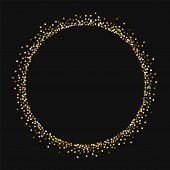 Round Gold Glitter. Round Shape With Round Gold Glitter On Black Background. Splendid Vector Illustr poster