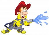 picture of fireman  - Vector illustration of a fireman holding a fire hose - JPG