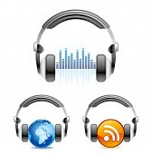 stock photo of musical symbol  - illustration is a headphones icon - JPG