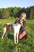 Cynologist With The Thoroughbred Borzoi Dog