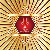 A Happy Hanukkah card template in red and gold. Also available in vector format