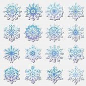 Separate Snowflakes Doodles Icon Vector Rustic Christmas Clipart New Year Snow Crystal Illustration poster
