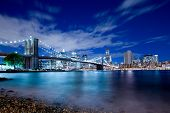 New York financial district and Brooklyn Bridge
