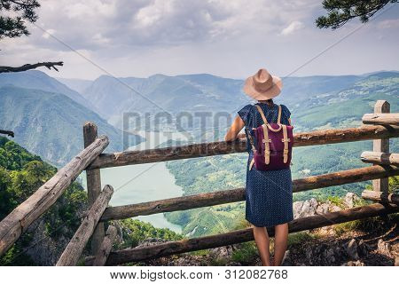 poster of Traveling Outdoor Hiking Walking Nature. Traveling In Nature. Travel Outdoor Backpacking Nature. Nat