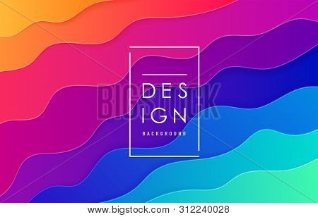 poster of Paper Cut Abstract Wave Vector Background. Wavy Layout In Bright Vibrant Rainbow Color For Minimal P