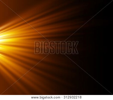 poster of Yellow Glowing Light Burst Explosion On Transparent Background. Vector Illustration Light Effect Dec