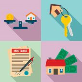 Mortgage Icons Set. Flat Set Of Mortgage Vector Icons For Web Design poster